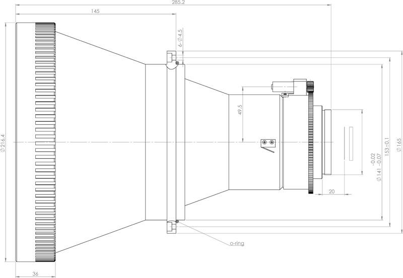 Габаритный чертеж и размеры объектива тепловизионного германиевого АСТ275Ф14