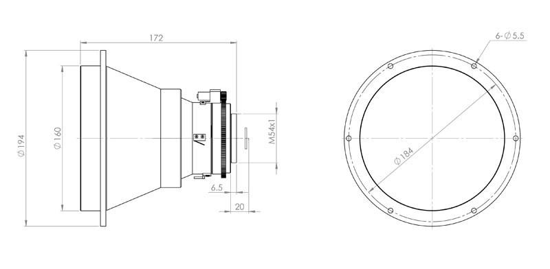 Габаритный чертеж и размеры объектива тепловизионного германиевого АСТ200Ф14