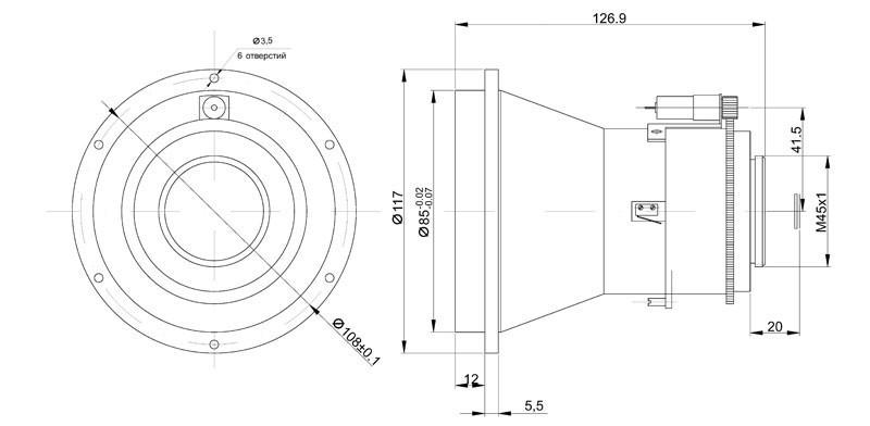 Габаритный чертеж и размеры объектива тепловизионного германиевого АСТРОН-120Ф14