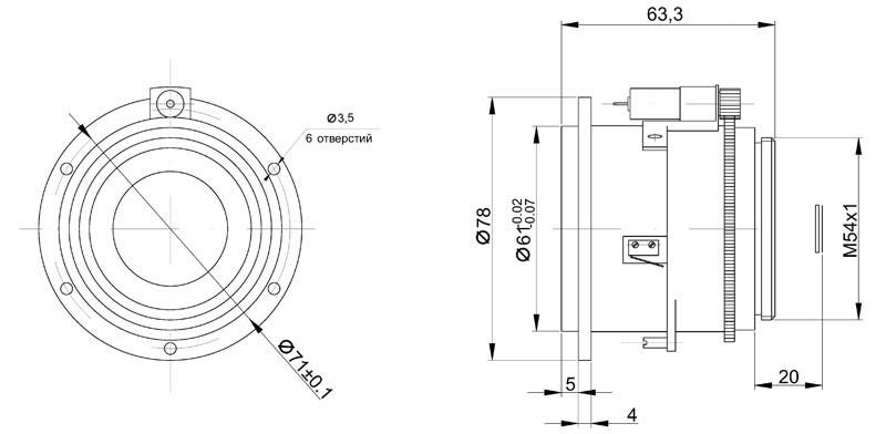Габаритный чертеж и размеры объектива тепловизионного германиевого АСТ40Ф08