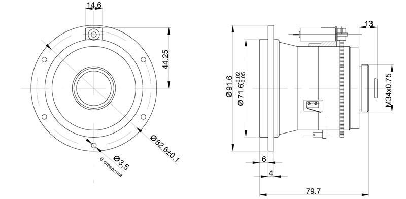 Габаритный чертеж и размеры объектива тепловизионного германиевого АСТРОН-50Ф10