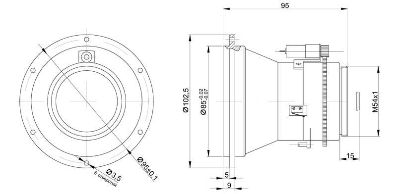 Габаритный чертеж и размеры объектива тепловизионного германиевого АСТРОН-75Ф10