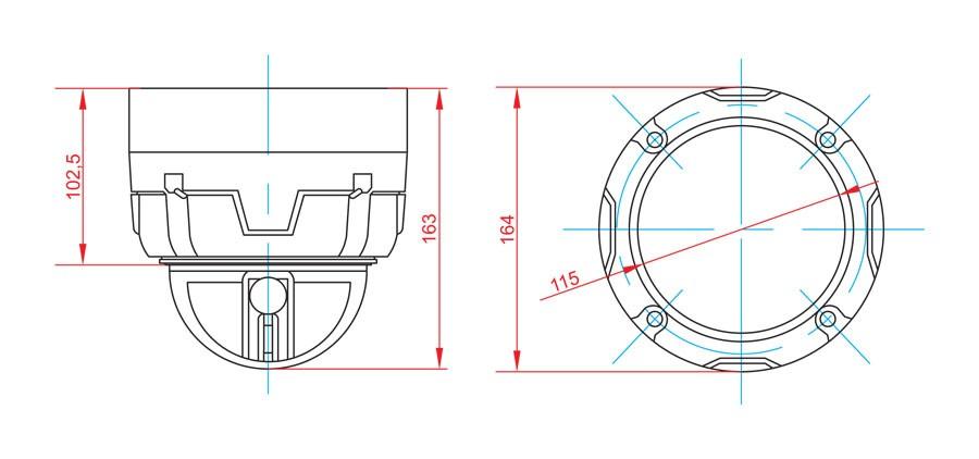Габаритный чертеж и размеры АСТРОН-5A-IQ-PTZ-131
