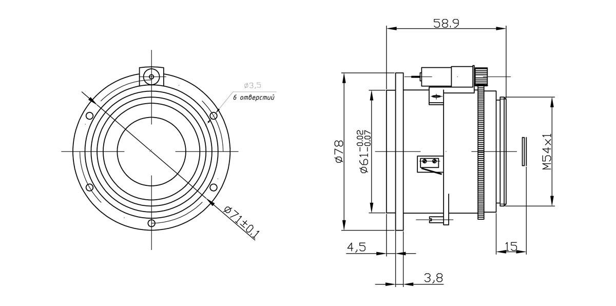 Габаритный чертеж и размеры АСТРОН-30Ф08