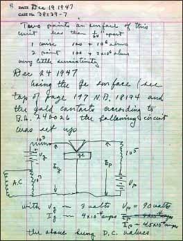 Страница рабочей тетради Браттейна. 19 декабря 1947 г.