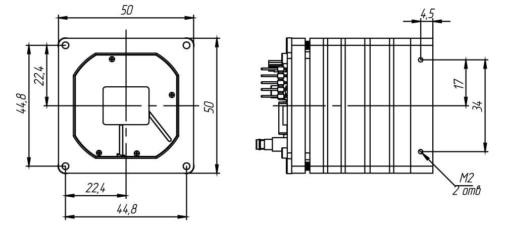 Габаритный чертеж тепловизионного неохлаждаемого модуля АСТРОН-640А17