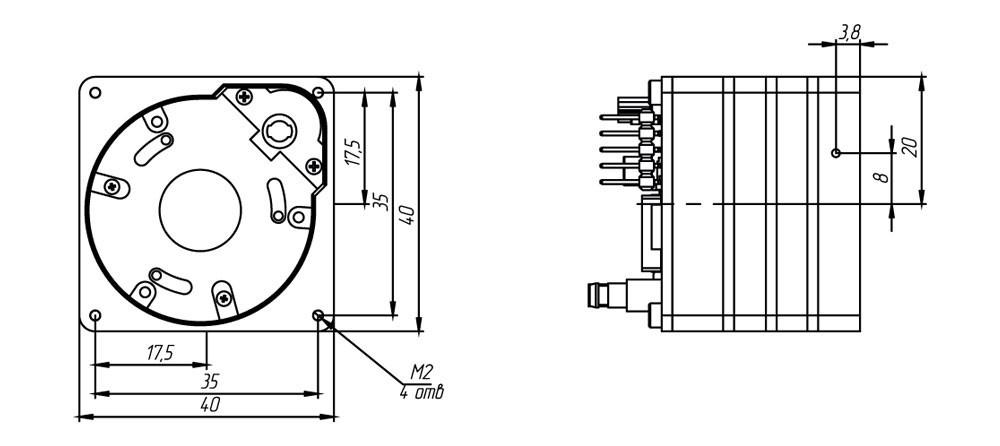 Габаритный чертеж тепловизионного неохлаждаемого модуля АСТРОН-384А17