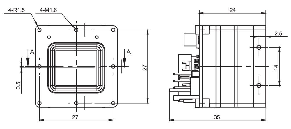 Габаритный чертеж тепловизионного неохлаждаемого модуля АСТРОН-384B17