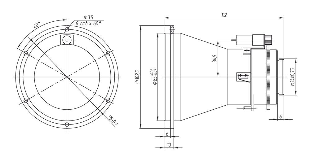 Габаритный чертеж и размеры тепловизионного моторизованного объектива АСТРОН-100Ф14